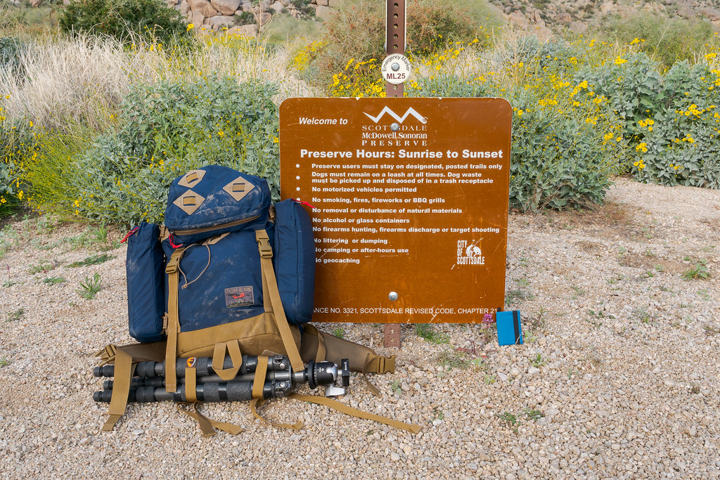 A closer photo of some of my Tom Bihn gear on the Marcus Landslide Trail in McDowell Sonoran Preserve
