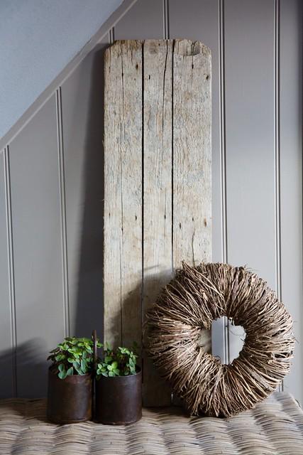 Houten plank plantjes krans