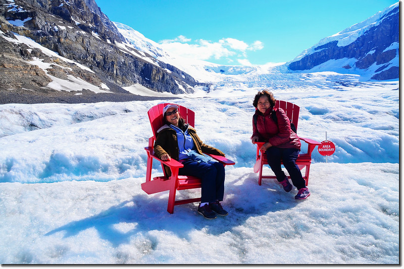 Red chairs On Athabasca Glacier (1)