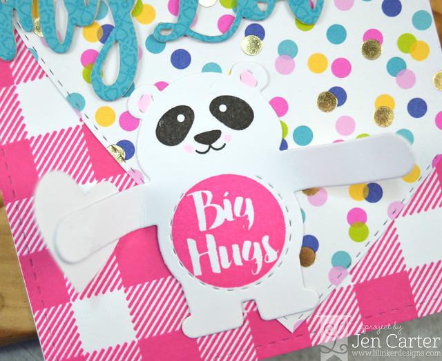 Jen Carter Bear Hugger Sending My Love Forever Heart Layer Cozy Plaid Pink Closeup Open
