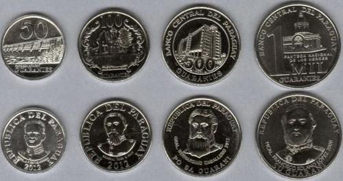 Paraguaj 50-100-500-1000 Guaranies 2008-2012 UNC, sada mincí