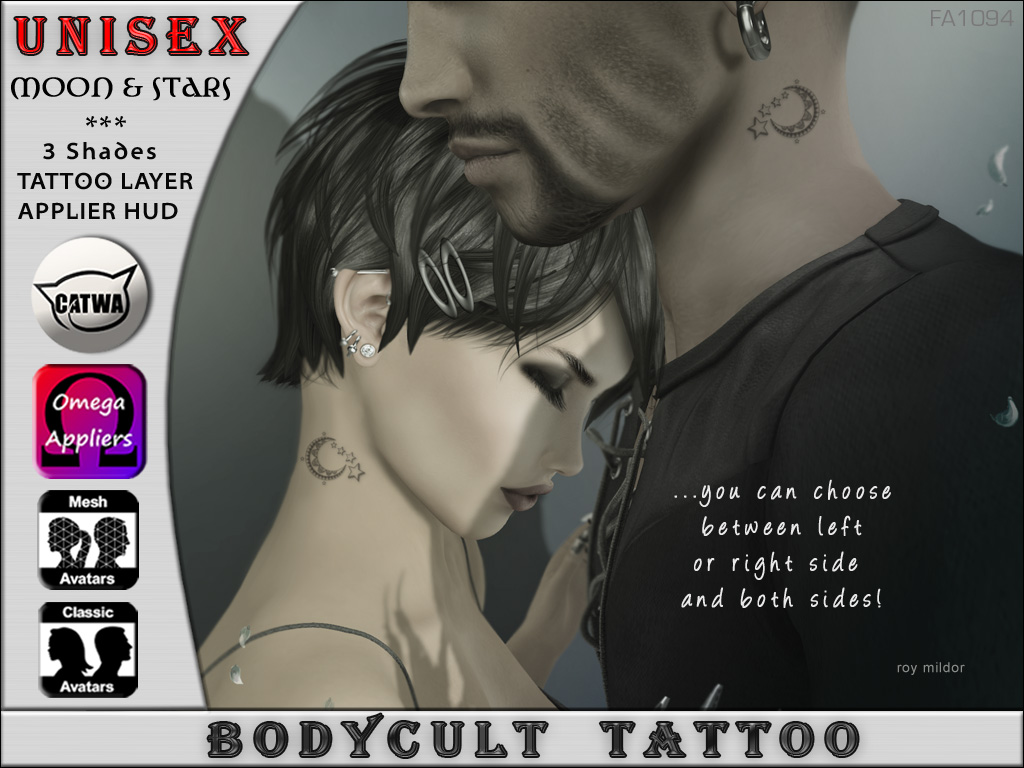 BodyCult Tattoo NECK UNISEX Moon Stars FA1094