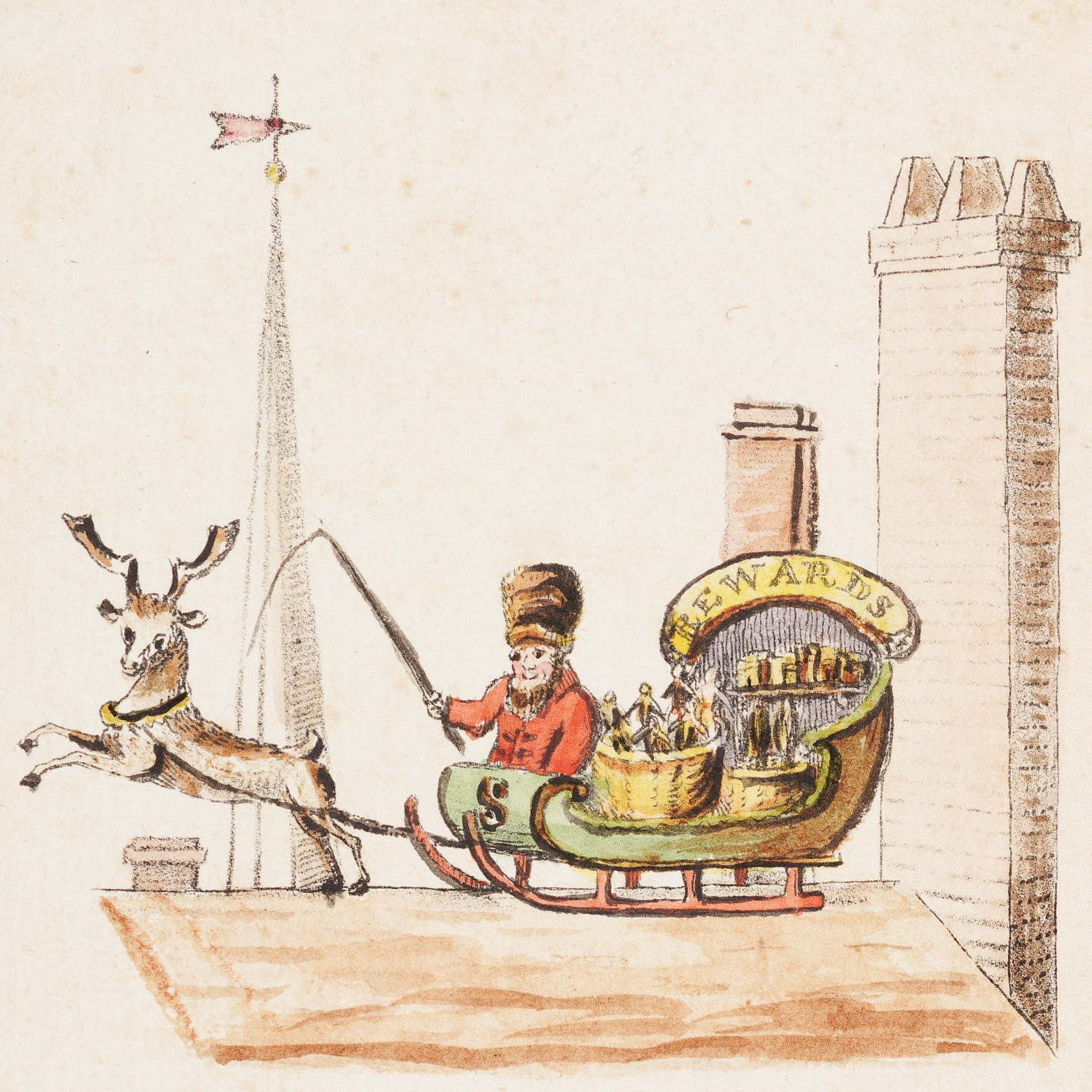 Illustration to verse 1 of the children's poem Old Santeclaus with Much Delight, 1821.