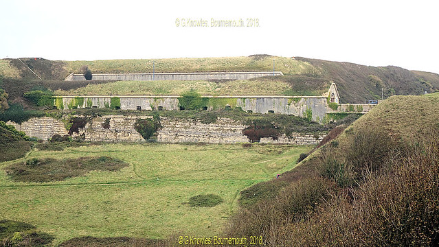 The huge hill that surrounds HMP The Verne in October 2017, Verne Common road, Portland DT5 1EQ. Dorset. England.