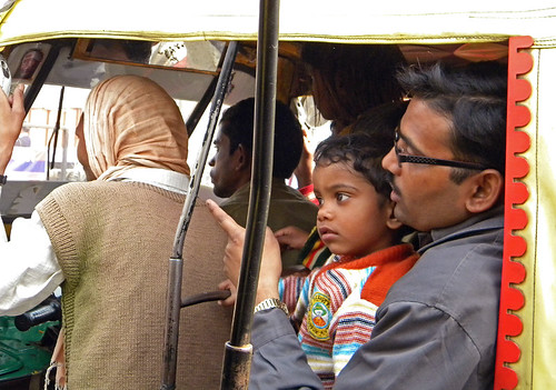 Riding in an auto rickshaw in Agra, India