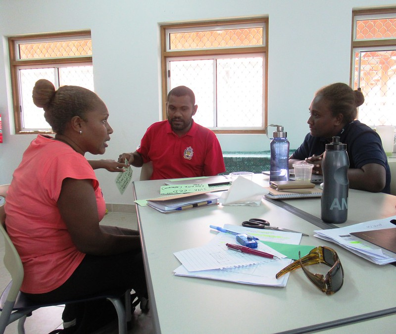 WorldFish gender researcher Chelcia Gomese (right) during a theory of change workshop. Photo by WorldFish.