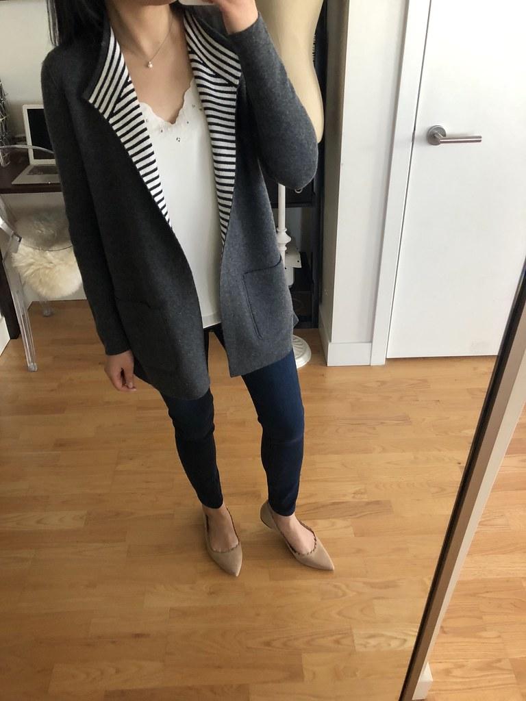 LOFT Striped Reversible Open Sweater Jacket, size XXS regular