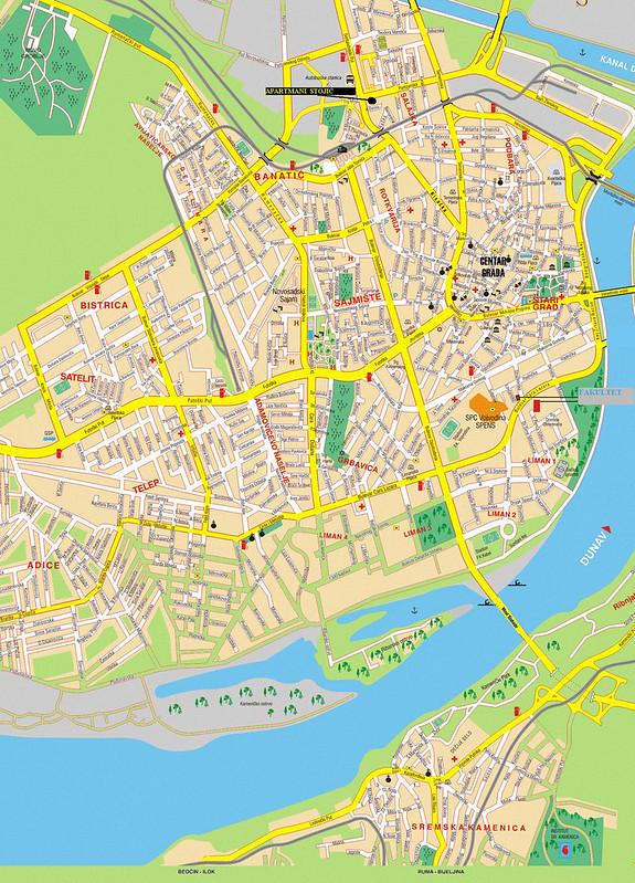 Туристическая карта Нового Сада с улицами