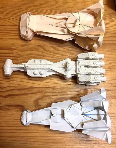 I am retouching Tantive IV blockade runner origami.
