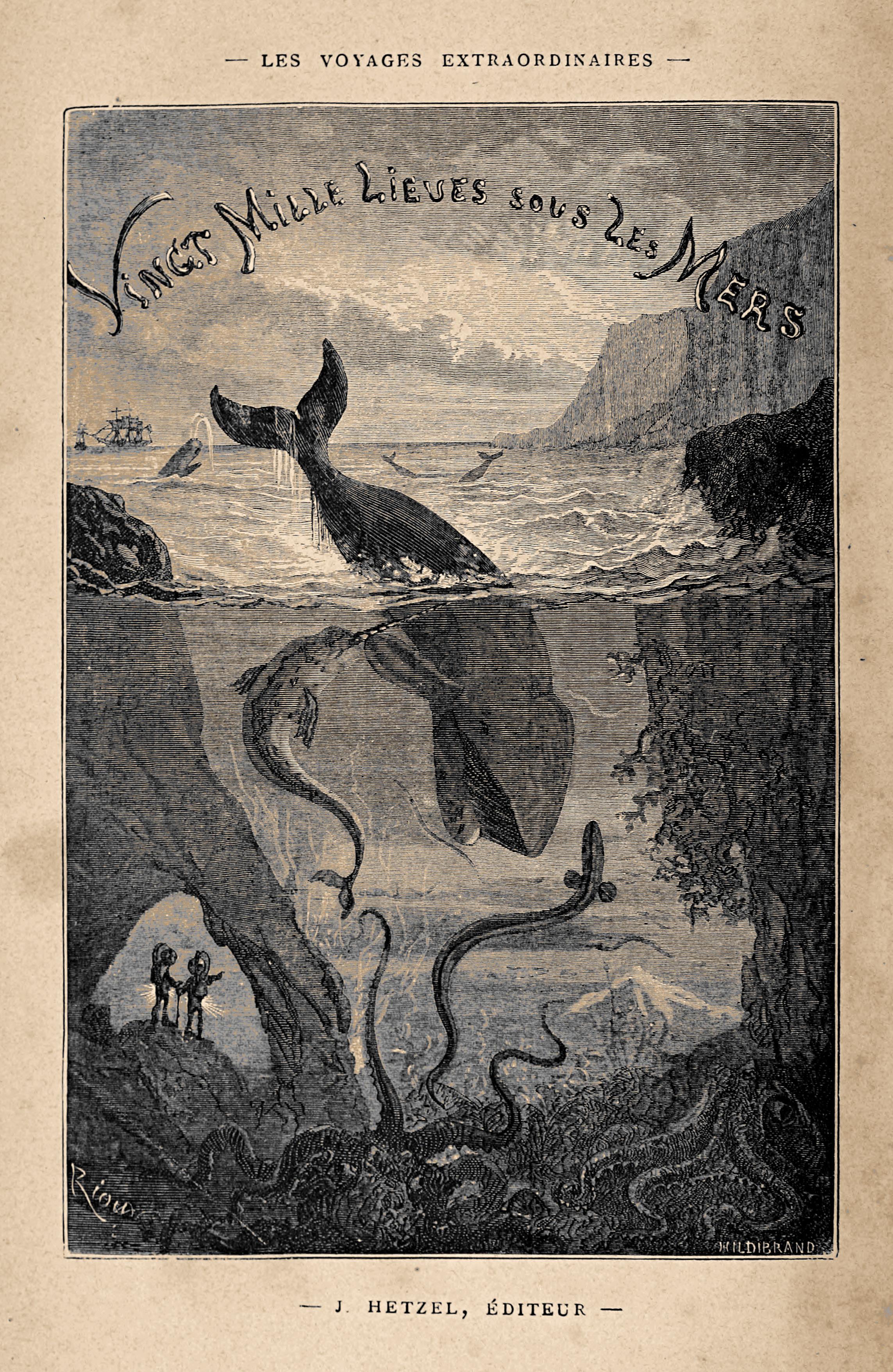 Frontispiece: From Vingt mille lieues sous les mers (20,000 Leagues Under the Sea), Paris: J. Hetzel, 1871. FC8 V5946 869ve, Houghton Library, Harvard University