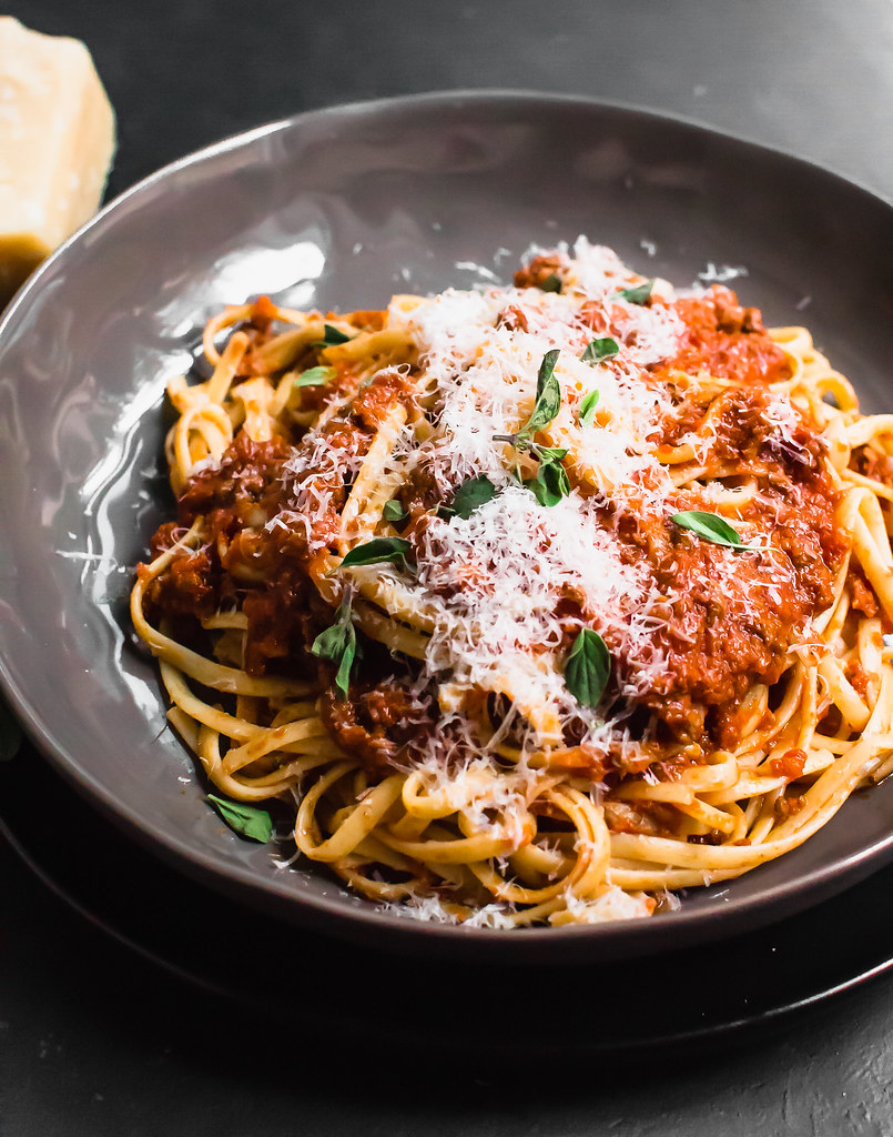 Serve traditional bolognese sauce with a healthy grating of fresh Parmesan cheese.