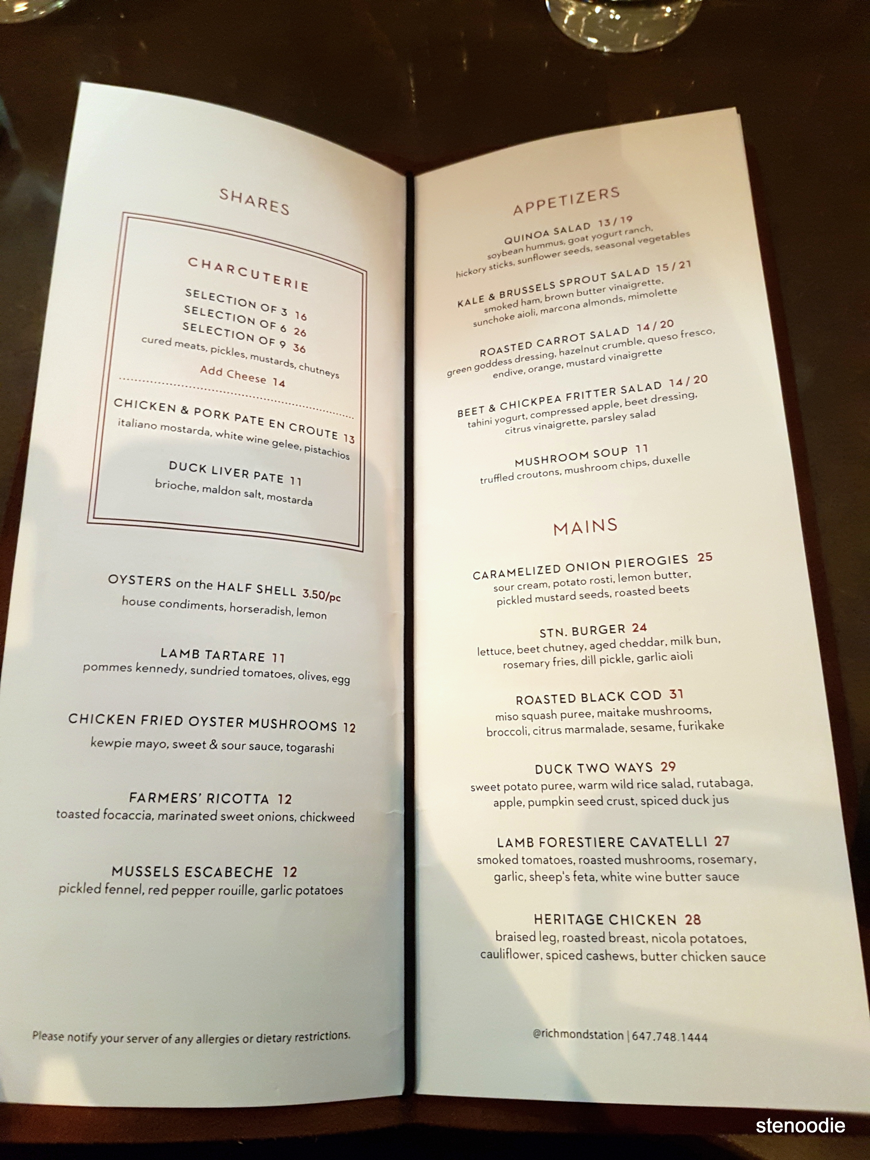 Richmond Station dinner menu and prices