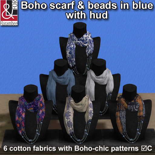 Boho scarf & beads in blue with hud