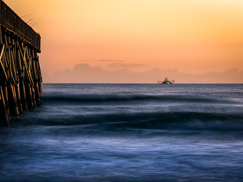 "Fishing trawler ""Miss Hope"" at daybreak near the pier 