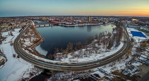 lowell massachusetts phantom3pro sethjdeweyphotography aerial drone evening panorama sunset winter