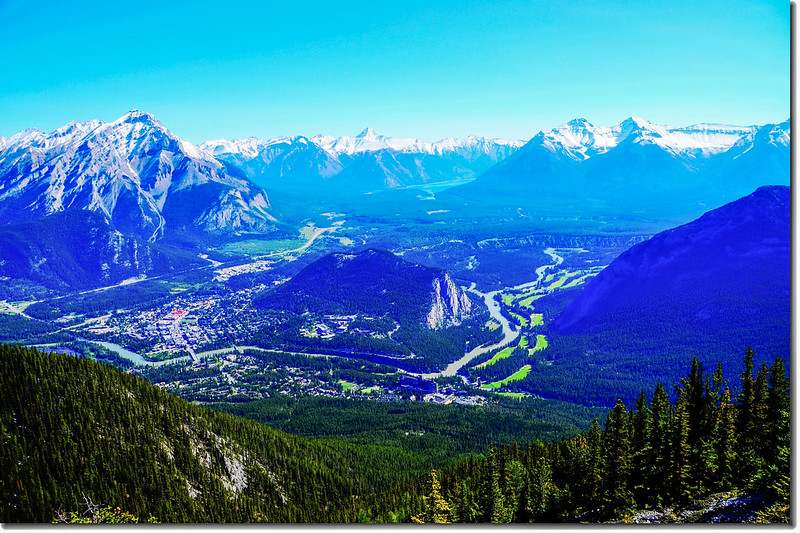 Banff and surrounding area from the Sanson Peak Observation Point