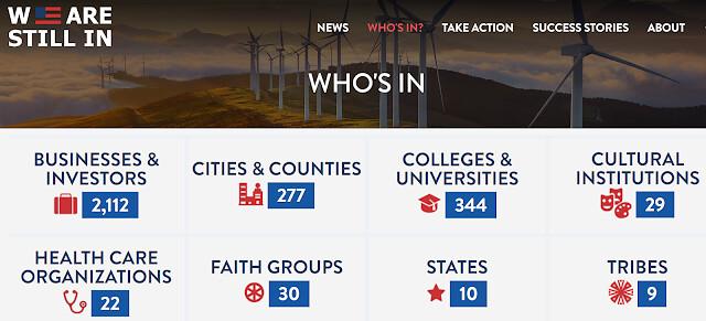 即便國家領導人態度消極,但從城市、企業界、到校園,美國各界依舊展現強烈的減碳抱負。資料來源:We Are Still In