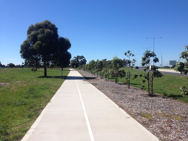 Shared path adjacent to Airport Drive looking south, Melbourne Airport