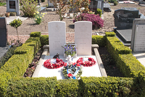 Graves of Wing Commander Guy Gibson VC, DSO & Bar, DFC & Bar and Squadron Leader Jim Warwick DFC Steenbergen en Kruisland Roman Catholic cemetery Holland