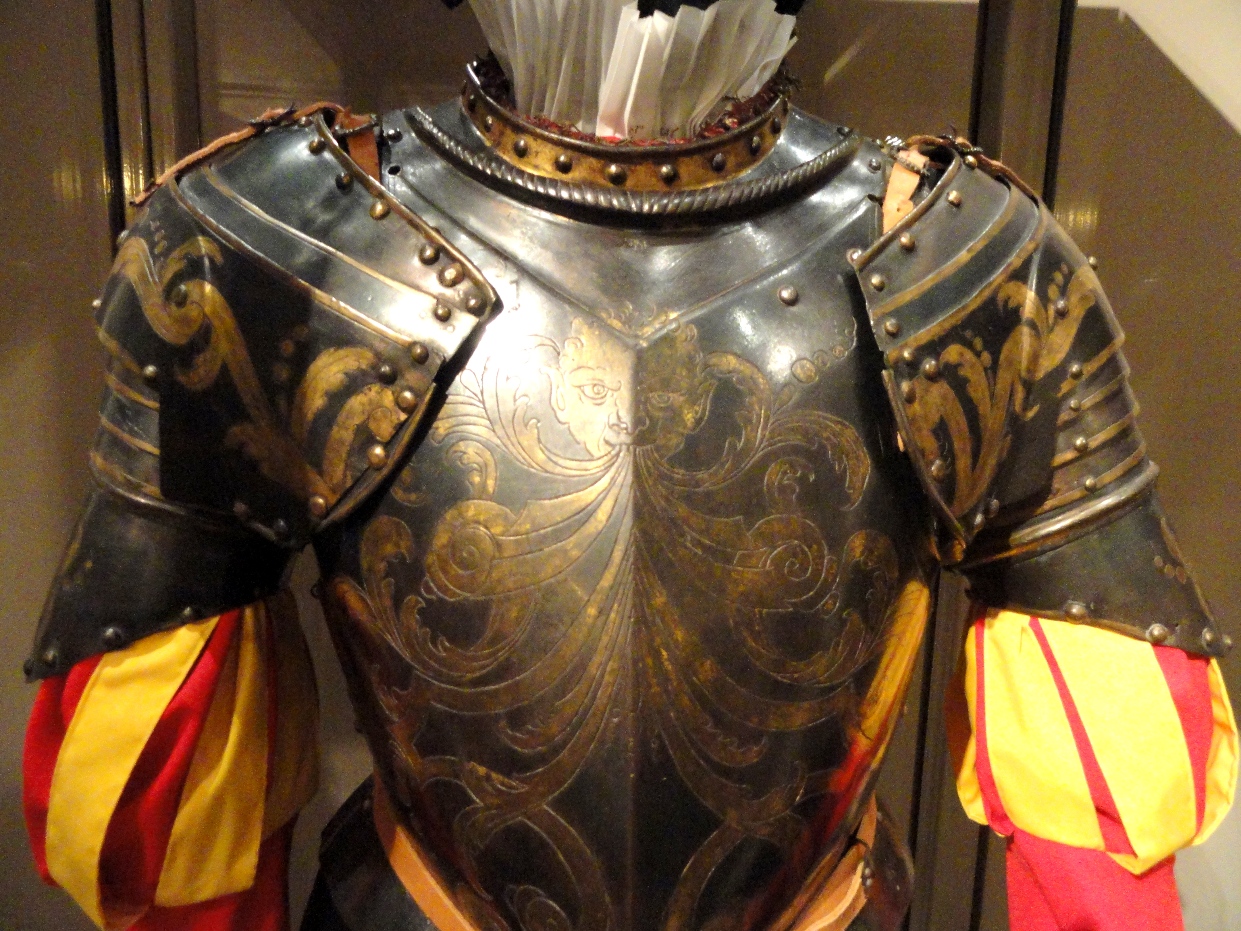 Armour for the Papal Guard of Gregory XIII, circa 1580s, Photo taken in the Higgins Armory Museum, 100 Barber Avenue, Worcester, Massachusetts, on September 24, 2011.