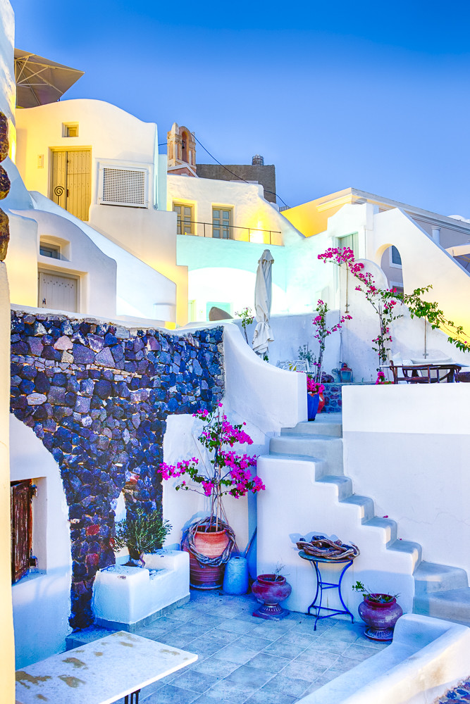 Picturesque View of Beautiful Oia Hoises in Santorini Island in Greece.