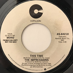 THE IMPRESSIONS:THIS TIME(LABEL SIDE-B)