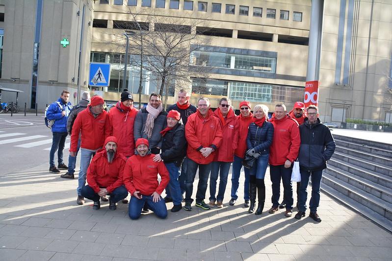 Bruxelles le mercredi 13 février 2019 la CGSP ADMI MONS-BORINAGE en solidarité avec la CGSP SECTEUR TELECOM devant les tours proximus