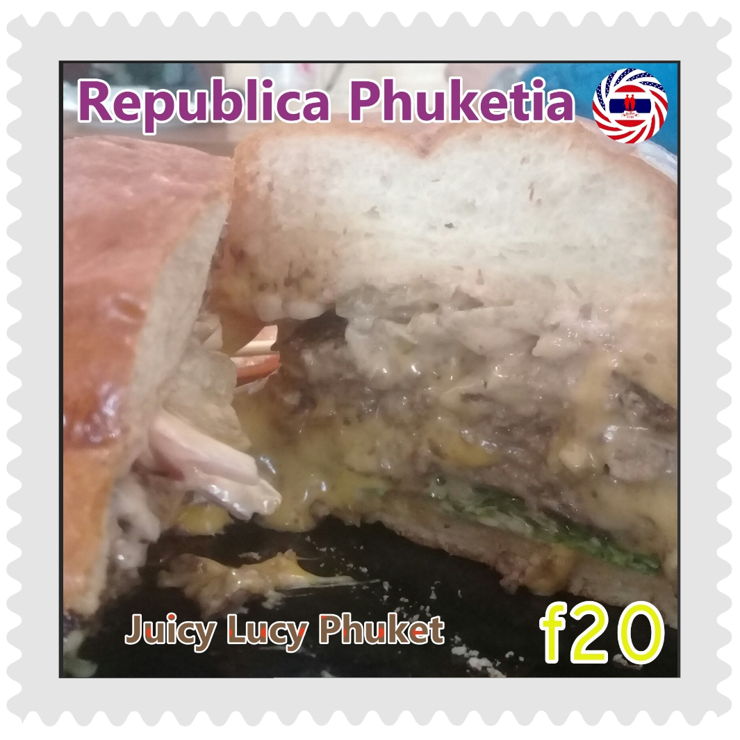 Republica Phuketia - Juicy Lucy (never!) - A 10-minute idea to mockup essay proves the world is not ready for the half-eaten hamburger on stamps topical collection