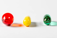 Colorful medical capsules on white background