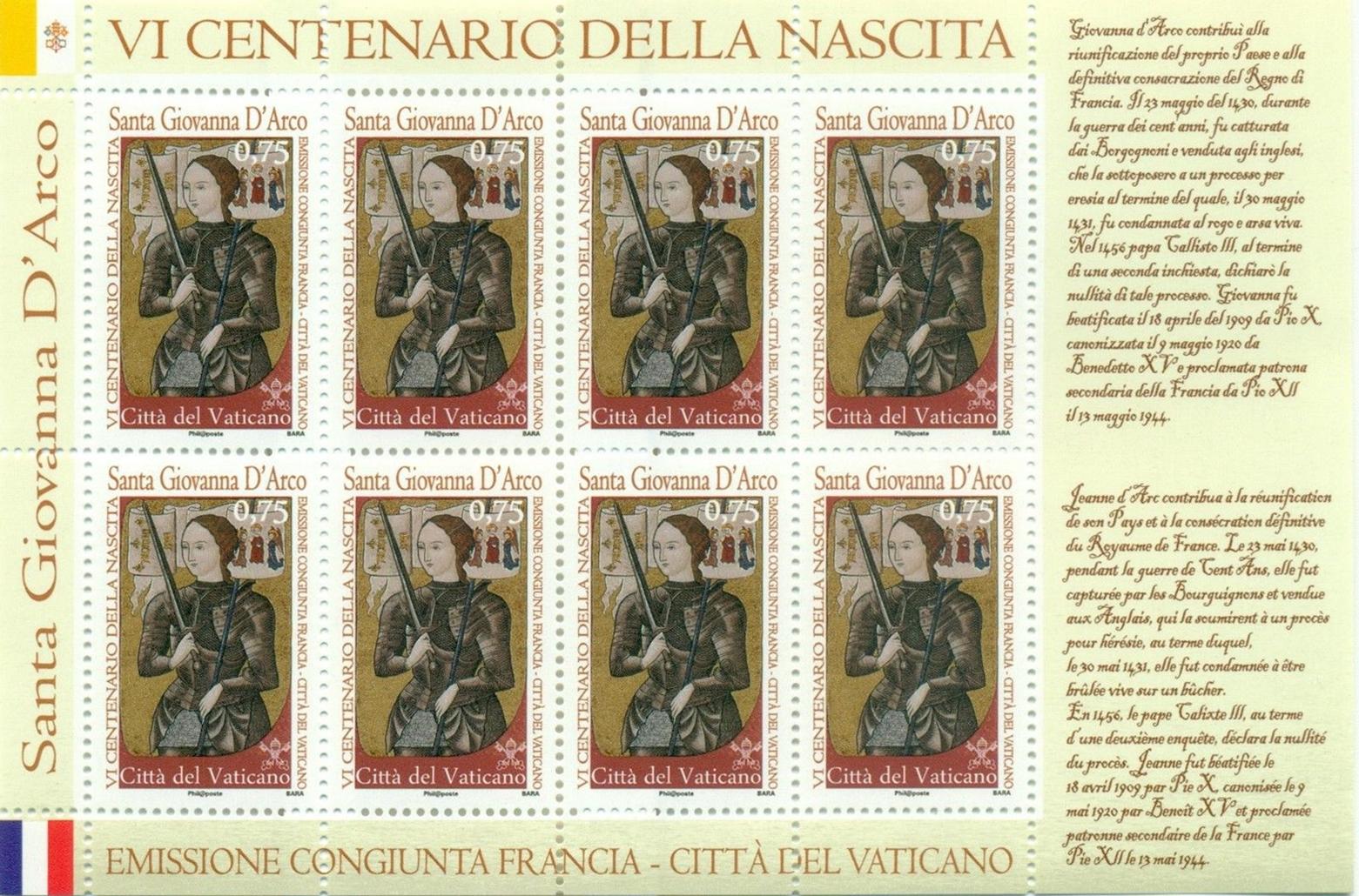 Vatican City - Scott #1499 (2012) miniature sheet of 8