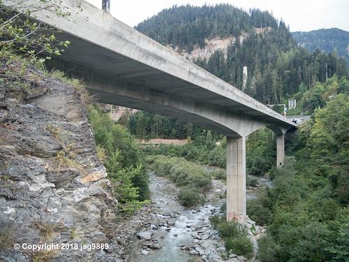 RHE167 Motorway A13 Road Bridge over the Hinterrhein River, Sils im Domleschg - Thusis, Canton of Graubünden, Switzerland