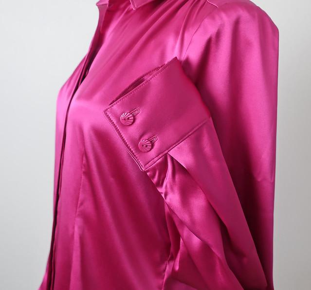 Pink silk shirt cuff and buttons