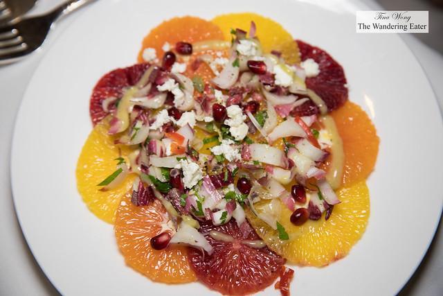 Winter citrus salad - endive, pomegranate, feta cheese, maple vinaigrette