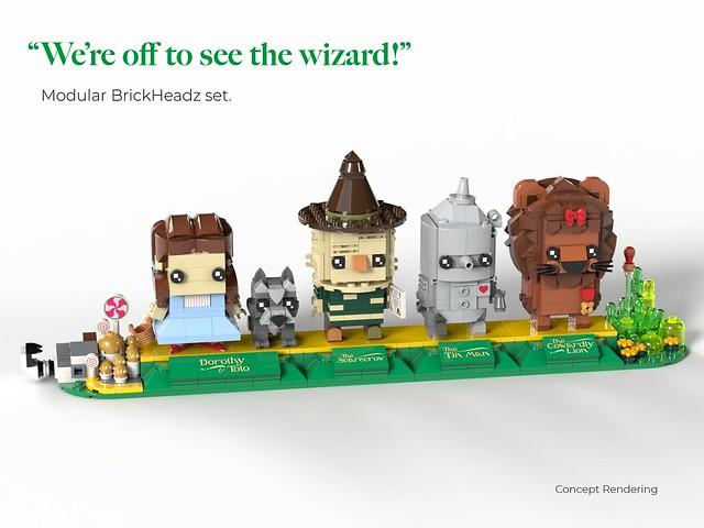 一起踏上黃磚路,展開奇幻的冒險吧! headzsets & jackmojo1 樂高MOC 作品《綠野仙蹤》我們要出發去見巫師 We're Off to See the Wizard - BrickHeadz