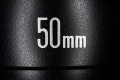 50mm lettering on a standard prime lens. Nifty fifty