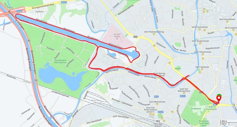 Ruta para correr en Gante. Watersportbaan