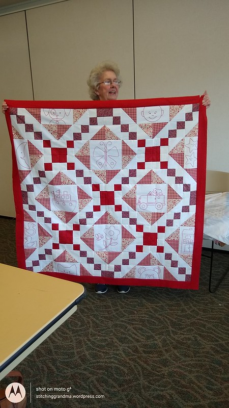 Joyce redwork quilt