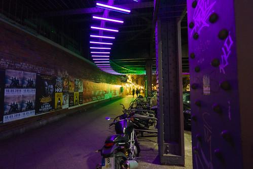 Neon lights at night.
