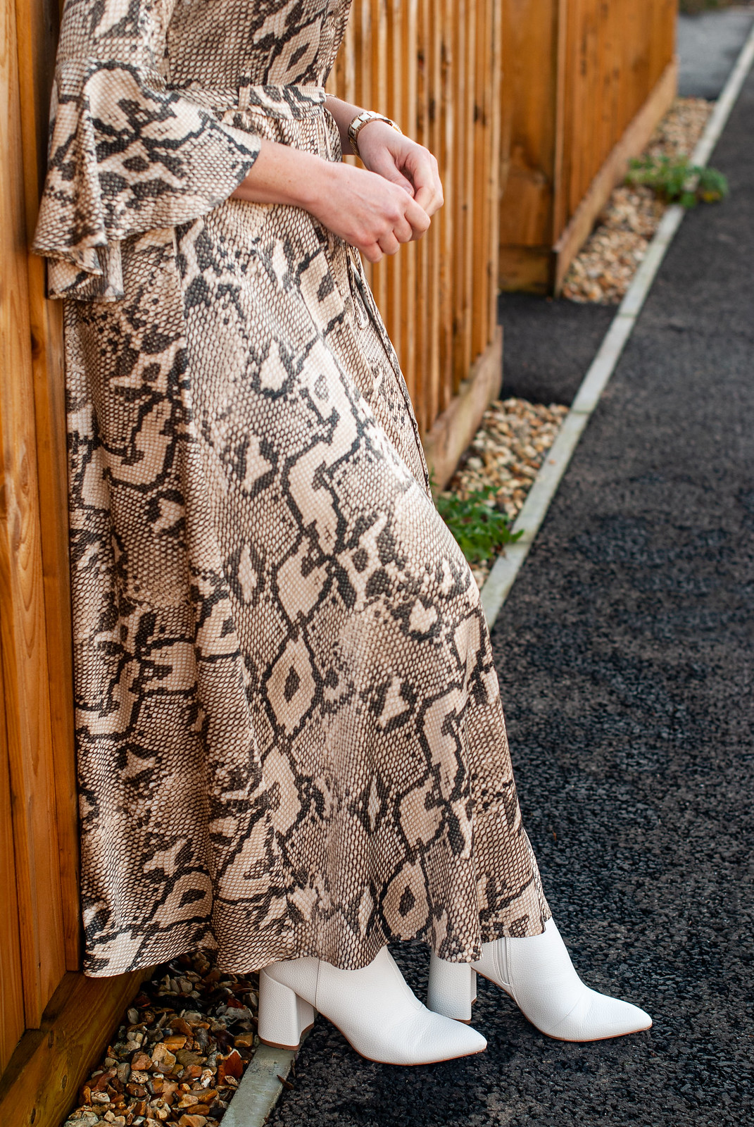 What to Wear for Christmas: A Snakeskin Maxi Dress With White Boots | Not Dressed As Lamb, over 40 style blog