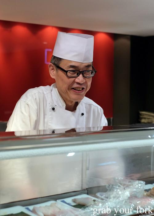 Sushi master Toshihiko Oe presenting his omakase at Masuya in Sydney
