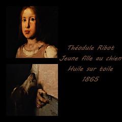 7 - Musée de Colombes - D'ombre et de lumière, Théodule Ribot - La Jeune fille au chien, 1865, Huile sur toile - Détails