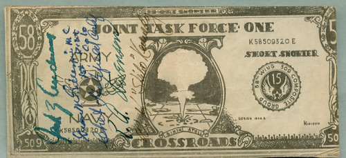 Short Snorter on Atomic Test Joint Task Force ONE note front