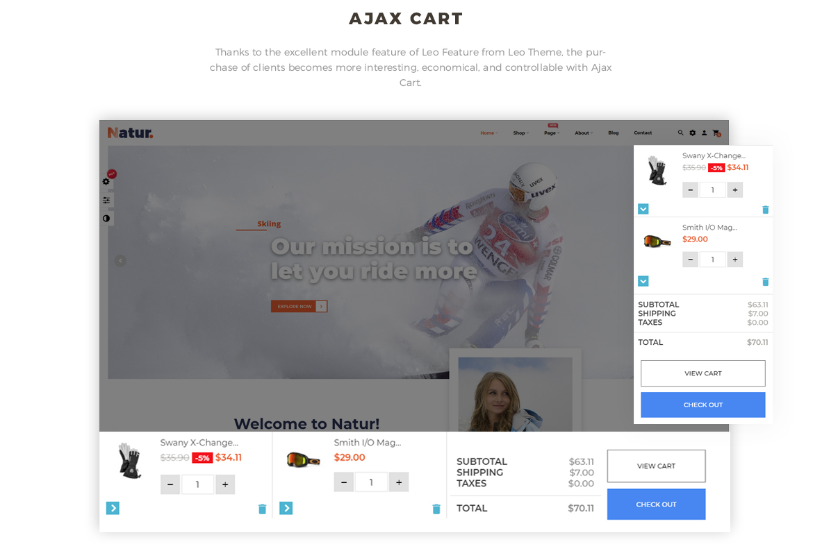 Leo Natur Sport Fashion Prestashop Theme - Flying Ajax Cart
