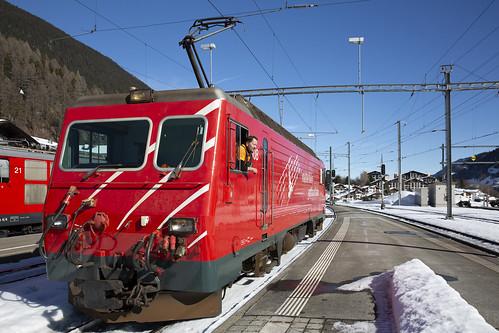 Matterhorn-Gotthard Bahn MGB 108 Disentis-Mustér 17 februari 2019