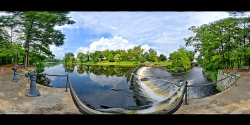 brooks brooksbos landscape river charlesriver dam water falls 360 panorama panoramic natick massachusetts newengland clouds sky trees woods scenic nature