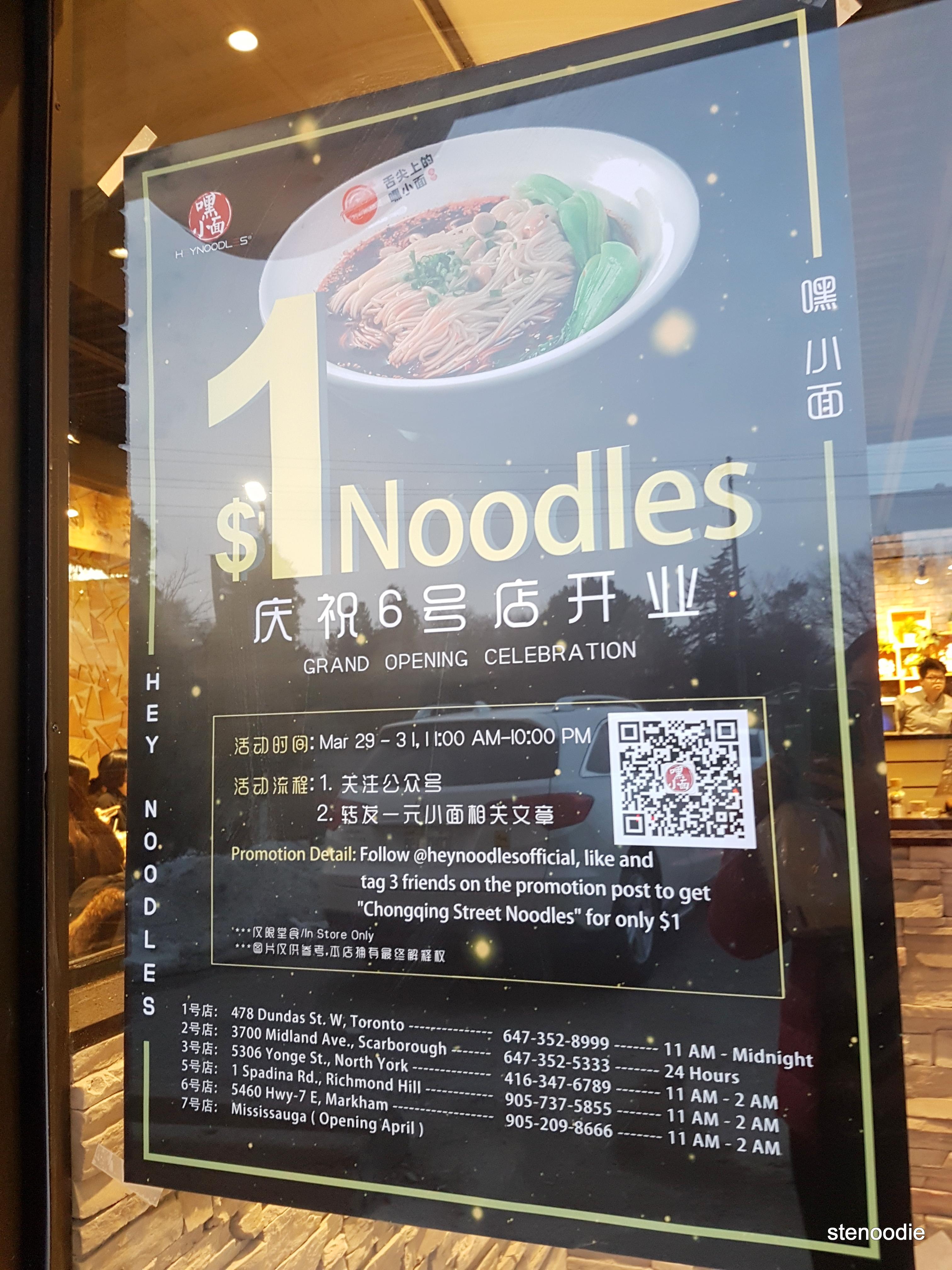 HeyNoodles Markham $1 noodle promotion