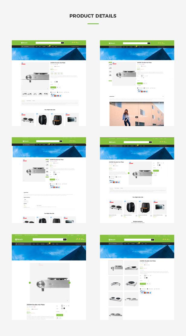 Ap Bosch Best Prestashop Kitchen Theme - Multiple product page layouts