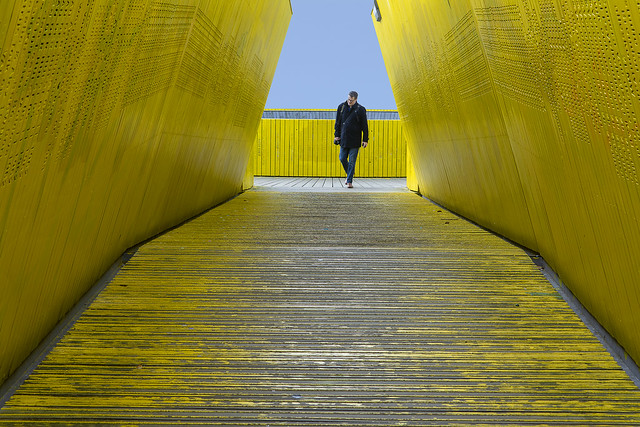 Yellow pedestrian bridge