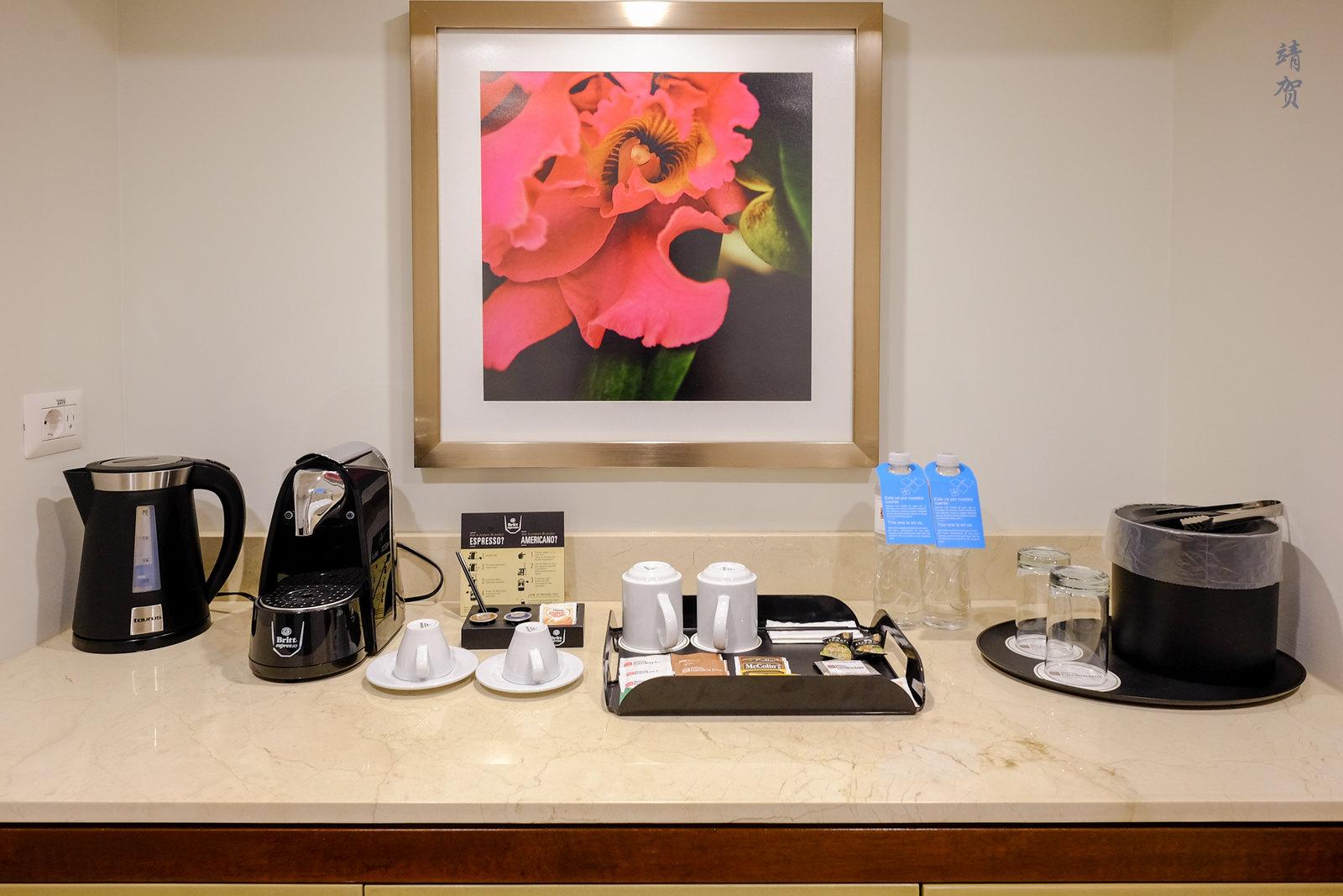 Console with espresso machine