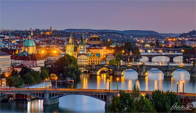 Prague blue hour view